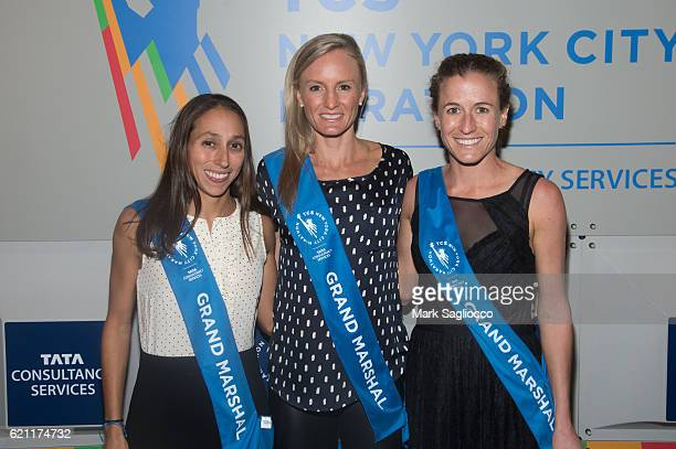 Grand Marshals Desiree Linden Shalene Flanagan Amy CraggHastings attend the 2016 New York Road Runners Night Of Champions at NYRR Media Center at the...