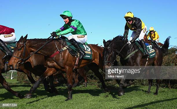 Grand National winner Mon Mome with jockey Liam Treadwell on their way to victory during the John Smiths Grand National at Aintree racecourse on...
