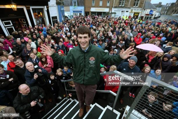 Grand National winning Jockey Ryan Mania during a homecoming parade in his hometown of Galashiels on the Scottish Borders PRESS ASSOCIATION Photo...
