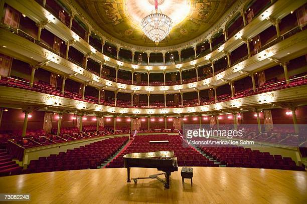 grand old lady of broad street, a 1857 built opera stage with grand piano at the opera company of philadelphia at the academy of music, philadelphia pa - opera stage stock pictures, royalty-free photos & images