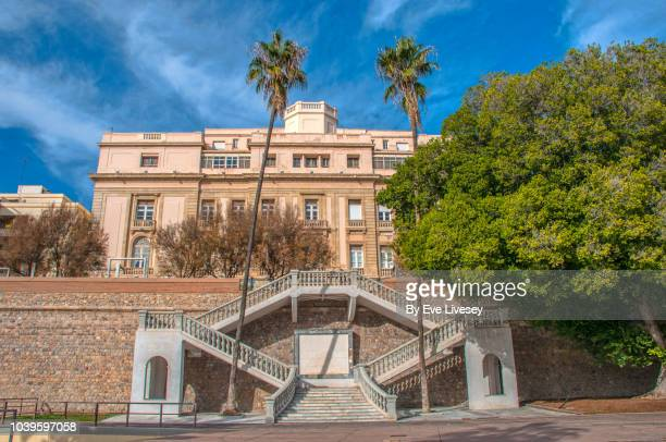 grand old staircase leading up to muralla del mar street - muralla stock photos and pictures