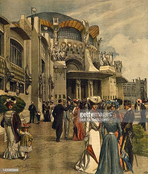 Grand opening of the First International Exhibition of Modern Decorative Arts in Turin Illustrator Achille Beltrame from La Domenica del Corriere May...