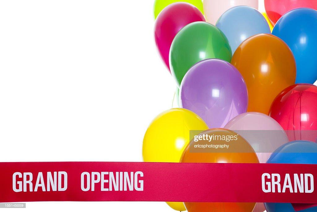 Grand opening ribbon and balloons : Stock Photo