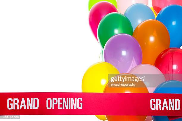 grand opening ribbon and balloons - opening ceremony stock pictures, royalty-free photos & images