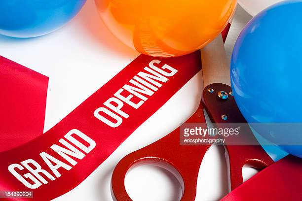 grand opening ribbon balloons and scissors - opening ceremony stock pictures, royalty-free photos & images