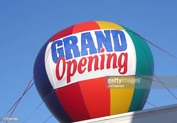 grand opening sign - colorful hot air balloon - opening ceremony stock pictures, royalty-free photos & images