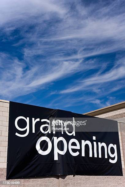 grand opening sign (vertical) - opening ceremony stock pictures, royalty-free photos & images