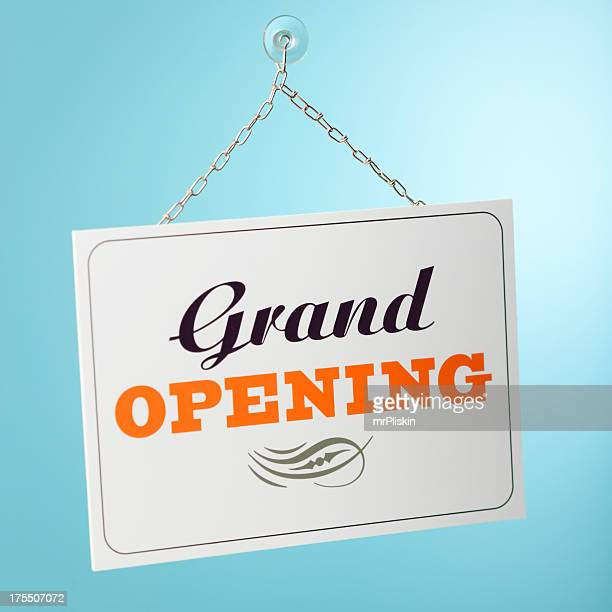 grand opening sign - opening ceremony stock pictures, royalty-free photos & images