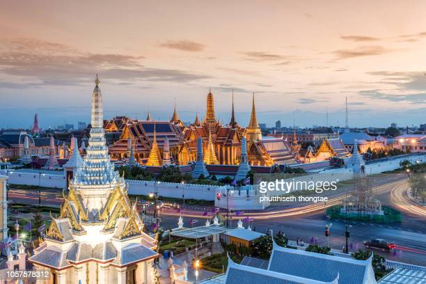Grand Palace and Wat Phra Keaw at beautiful sunset in Bangkok Thailand.Thailand is the best Cultural and Heritage Holidays Destination.