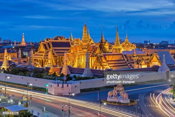 Grand palace and Wat phra keaw at night,Bangkok,Thailand.