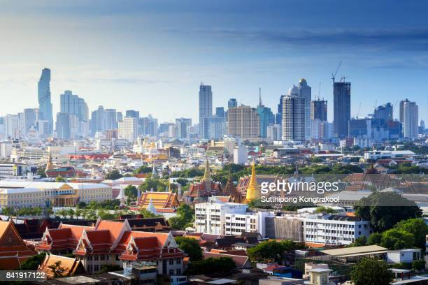 Grand palace and Wat phra keaw at sunrise Bangkok, Thailand. Temple of the Emerald Buddha. landscape of the capital city. The most favorite landmark of travel destination of asia. skyline cityscape