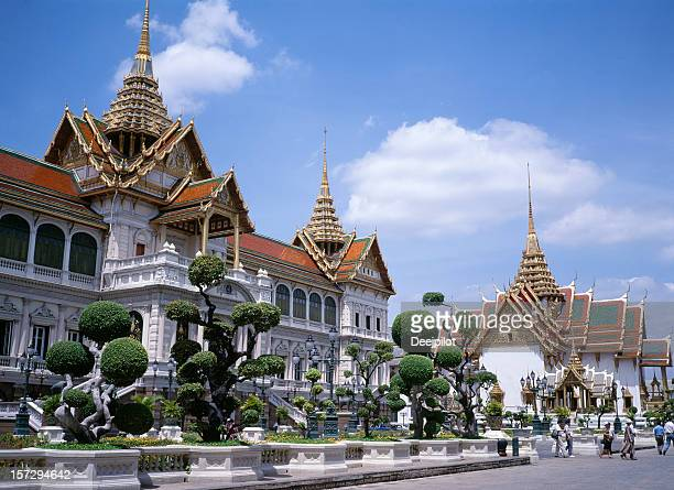 Grand Palace in Bangkok against clear blue sky