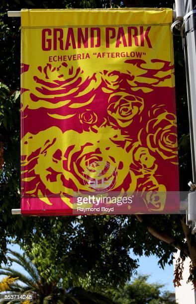 Grand Park's banner hangs in Grand Park in Los Angeles California on September 10 2017