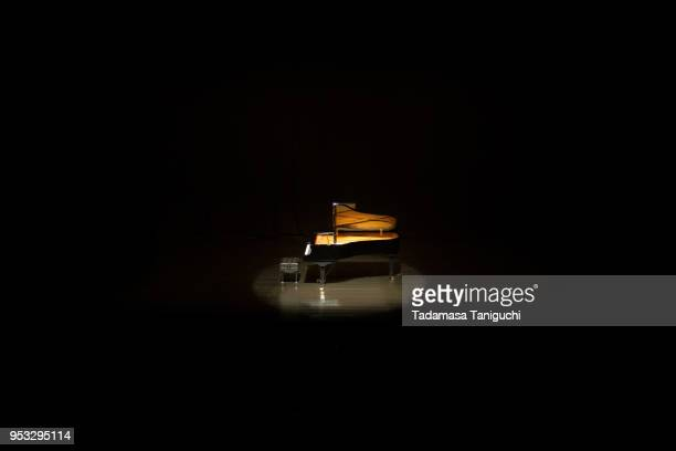 grand piano at concert hall - grand piano stock photos and pictures