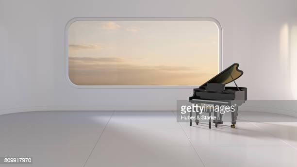 grand piano in futuristic room - fabolous musician stock photos and pictures