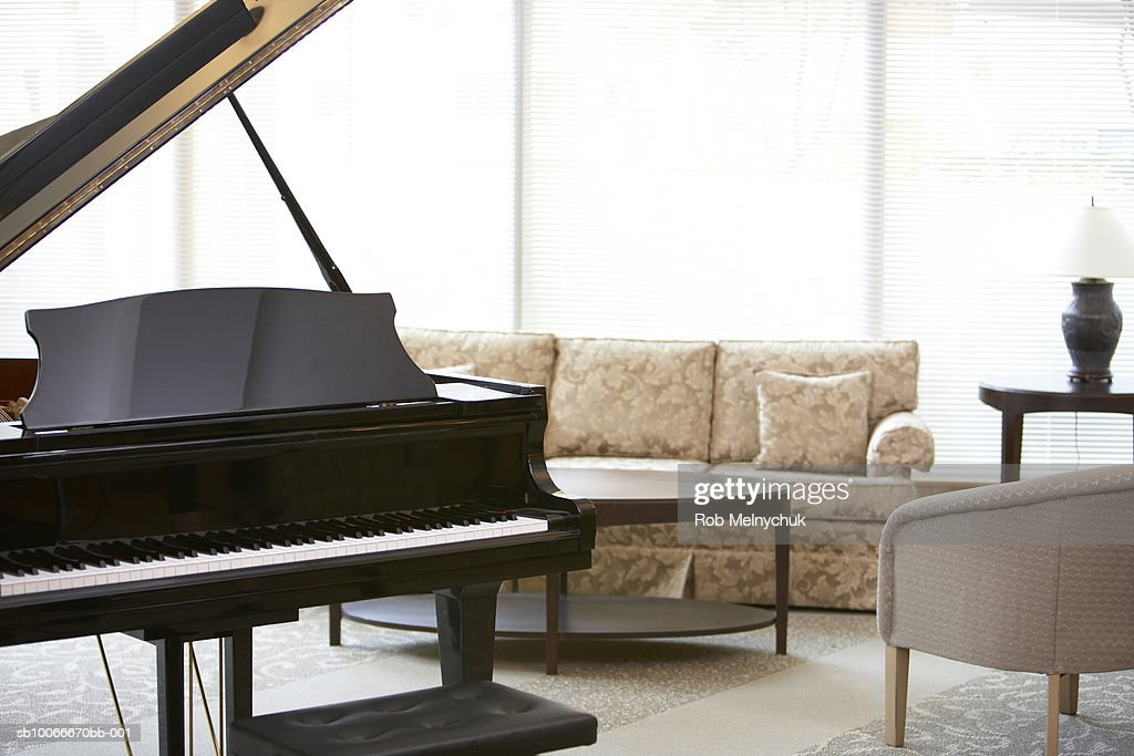 Grand piano in living room : Stock Photo