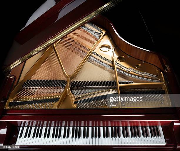 grand piano overview, keyboard, strings, and inside - grand piano stock photos and pictures
