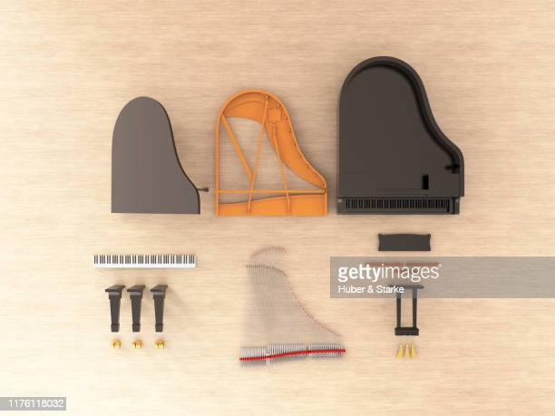 grand piano shown in component parts - stringed instrument stock pictures, royalty-free photos & images