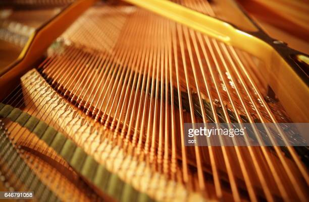 grand piano strings,close up - musical instrument string stock pictures, royalty-free photos & images