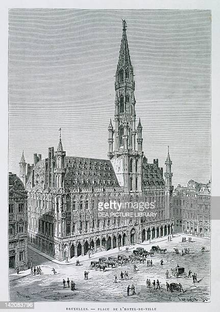 Grand Place and the Hotel de Ville in Brussels Belgium 19th Century