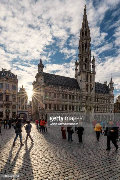 grand place and town hall, brussels, belgium - グランプラス ストックフォトと画像