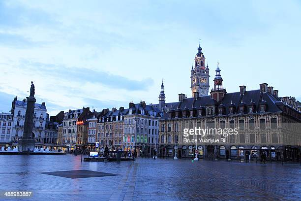 grand place at dusk - lille france stock pictures, royalty-free photos & images