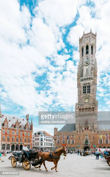 grote markt (market square) - bruges - bell tower tower stock pictures, royalty-free photos & images