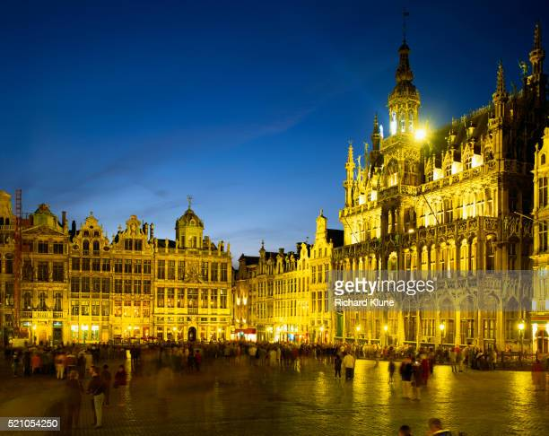 Grand Place in Brussels Illuminated at Night