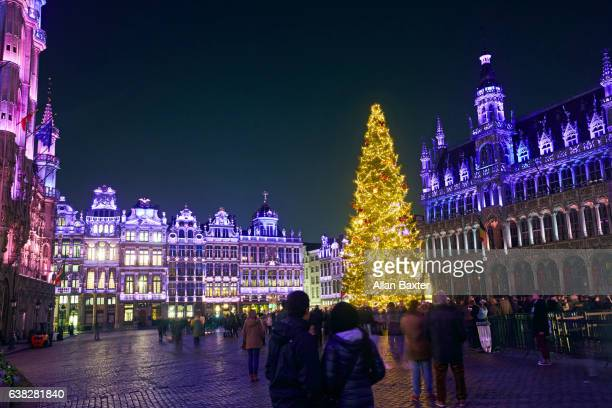 Grand Place in Brussels with Christmas tree