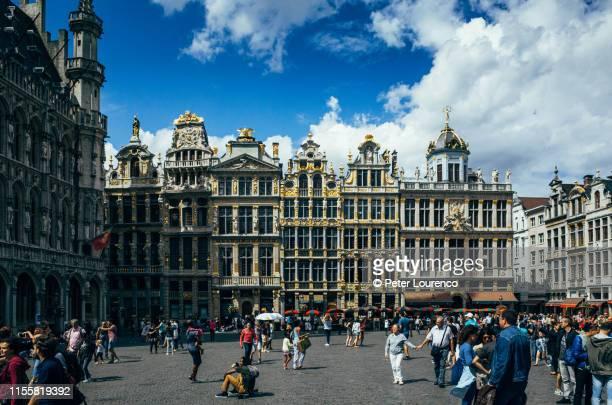 grand place market square, brussels, belgium. - peter lourenco stockfoto's en -beelden