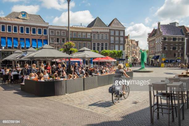 grand place or grote markt in zwolle, the netherlands during springtime - zwolle stock photos and pictures