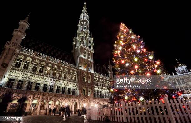 Grand Place, Schuman Square and streets are illuminated ahead of Christmas in Brussels, Belgium on December 12, 2019.