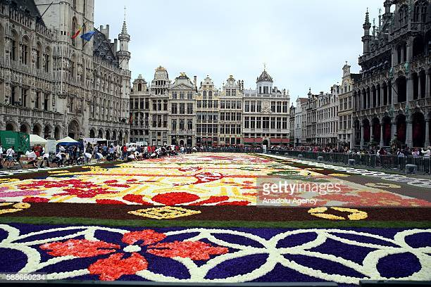 Grand Place square of Brussels is turned into a giant Japanesethemed carpet made up of 600000 begonias and dahlia flowers in Brussels Belgium on...
