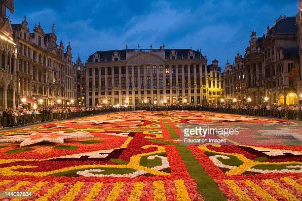 Grand Place With The Flower Carpet In Brussels Belgium
