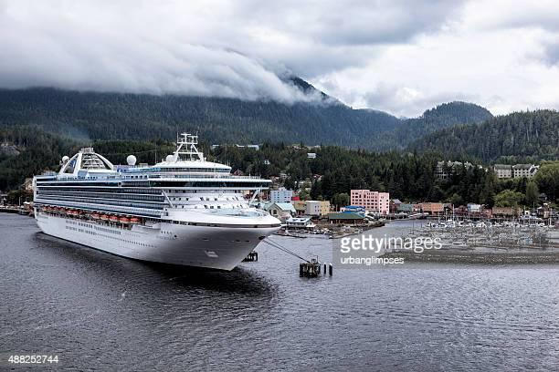 grand princess docked in ketchikan, alaska - grand princess cruise stock pictures, royalty-free photos & images