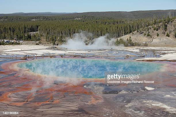 Grand Prismatic Spring, Midway Geyser Basin geothermal area, Yellowstone National Park, Wyoming.