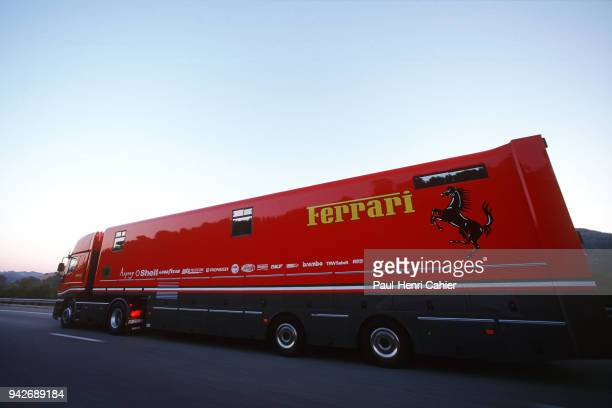 Grand Prix of France Circuit de Nevers MagnyCours 30 June 1996 Ferrari transporter on the road