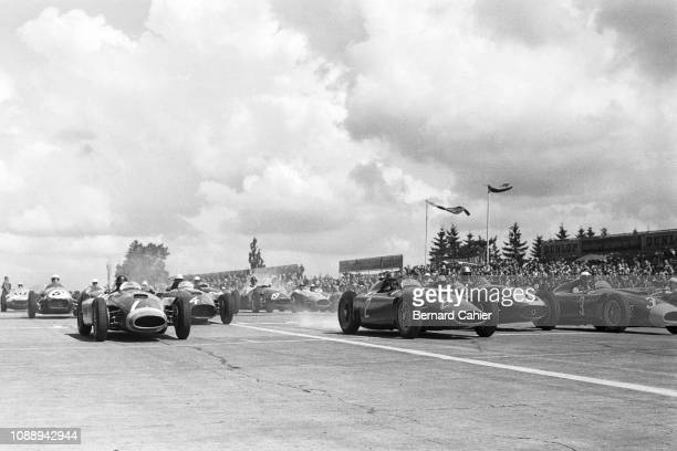 Grand Prix of Germany, Nurburgring, 05 August 1956. Start of the 1956 German Grand Prix: Juan Manuel Fangio on pole position is a bit slow off the...