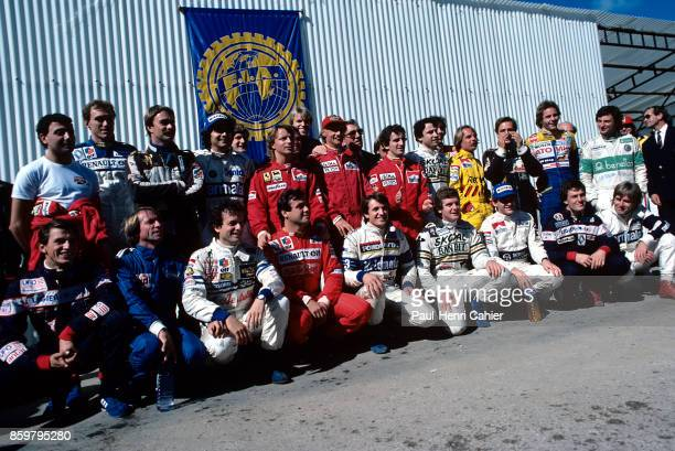 Grand Prix of Portugal Autodromo do Estoril October 21 1984 End of season drivers photo in Estoril on the occasion of the Portuguese Grand Prix final...
