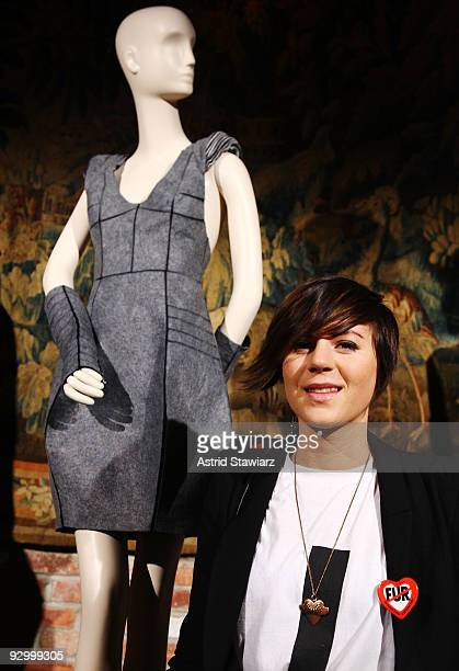 Grand prize winner of the fifth annual Cool vs. Cruel Fur-Free Fashion Design Competition Ingrid Bergstrom-Kendrick poses next to her design at The...