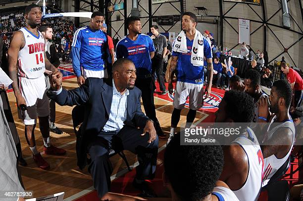 Grand Rapids Drive Head Coach Otis Smith directs his team during a timeout in the NBA D-League game against the Delaware 87ers on January 31, 2015 at...