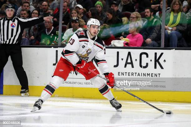 Grand Rapids Griffins center Dominic Turgeon controls the puck during the third period of the American Hockey League game between the Grand Rapids...