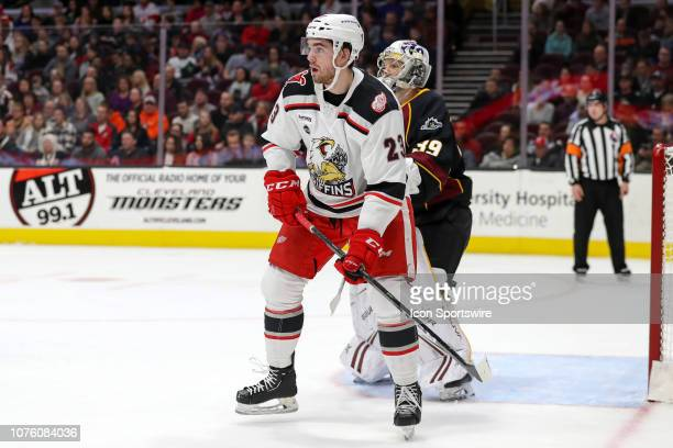 Grand Rapids Griffins center Dominic Turgeon looks for a pass during the first period of the American Hockey League game between the Grand Rapids...