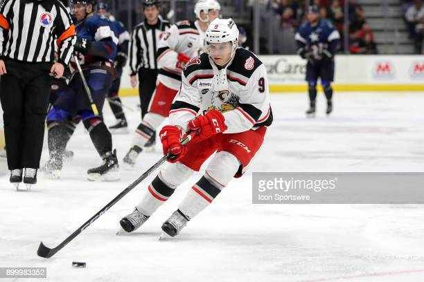 Grand Rapids Griffins defenceman Vili Saarijarvi plays the puck during the second period of the American Hockey League game between the Grand Rapids...