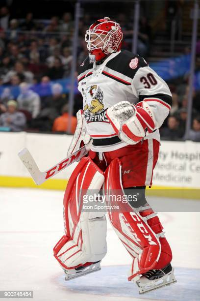 Grand Rapids Griffins goalie Tom McCollum in goal during the second period of the American Hockey League game between the Grand Rapids Griffins and...