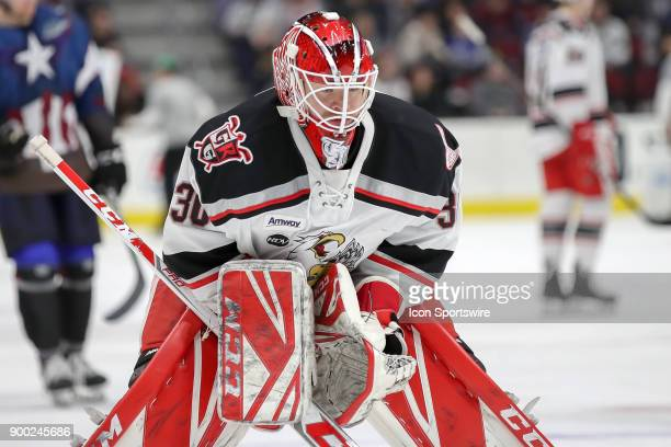 Grand Rapids Griffins goalie Tom McCollum on the ice during the second period of the American Hockey League game between the Grand Rapids Griffins...