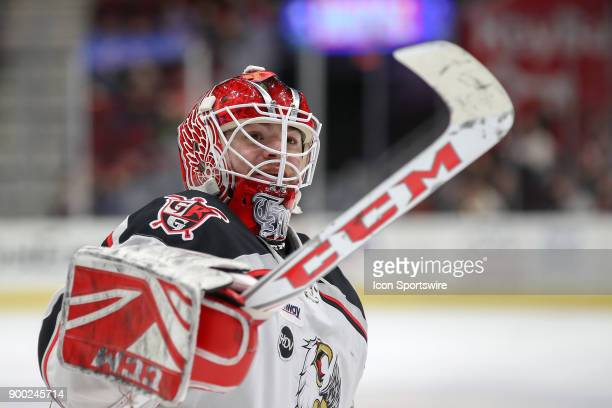 Grand Rapids Griffins goalie Tom McCollum points to a fan in the stands during the second period of the American Hockey League game between the Grand...