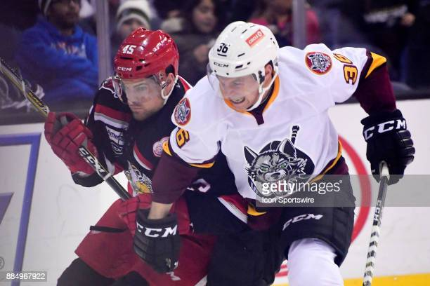 Grand Rapids Griffins right wing Colin Campbell and Chicago Wolves defenseman Chris Casto battle for position during the game between the Chicago...