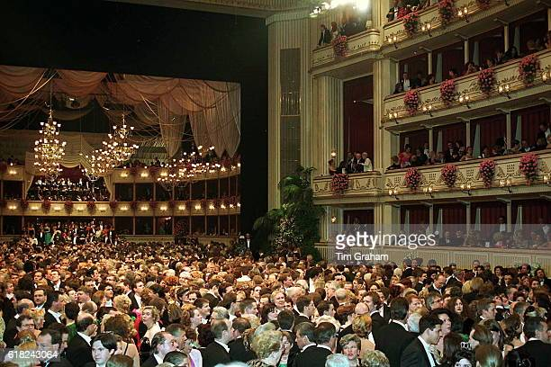 Grand scene at Vienna Opera Ball High society ballroom dancing Waltzing The Waltz Culture Cultural Old Fashioned Traditional Grandeur Style Glamor...