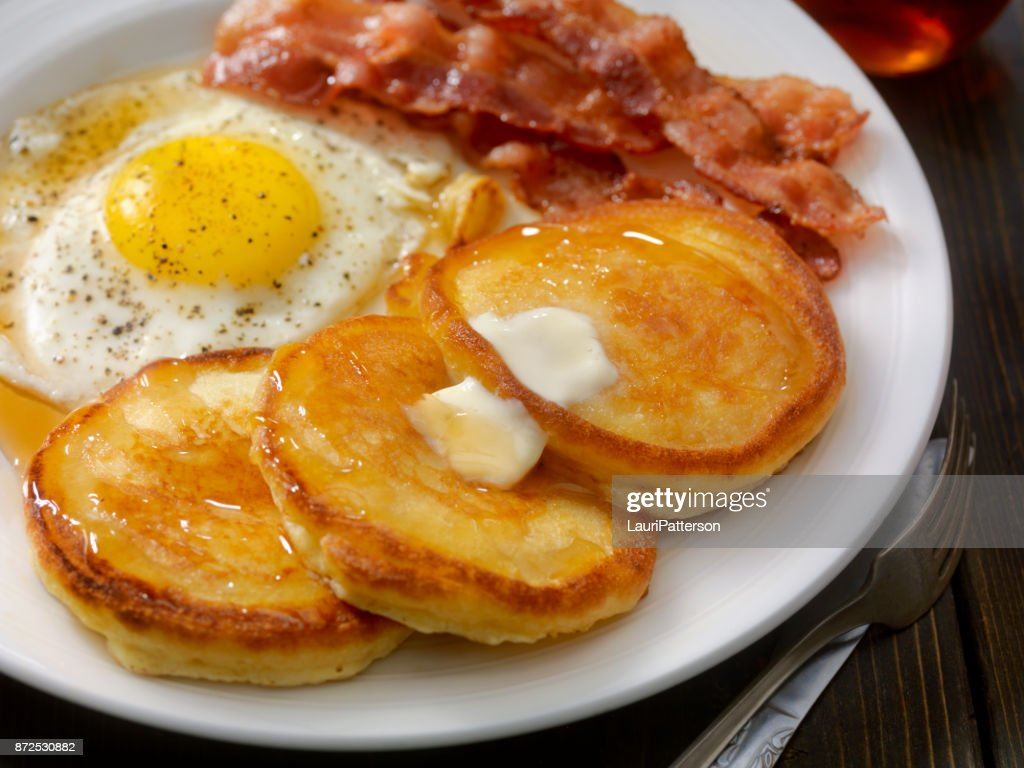 Grand Slam Breakfast - Pancakes, Bacon and Eggs : Stock Photo